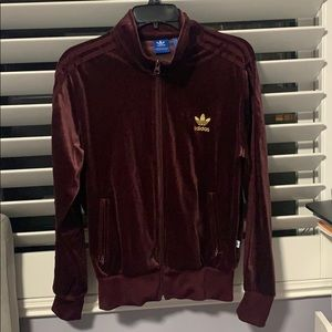 Burgundy velvet adidas jacket